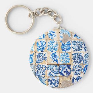 tuile du Portugal de décoration bleue de Lisbonne Porte-clé Rond