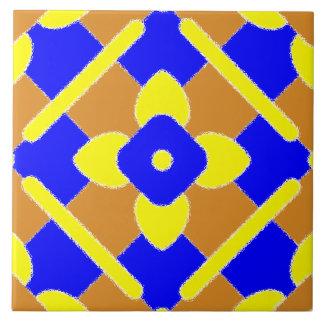 Tuile espagnole bleue jaune blanche orange florale carreau