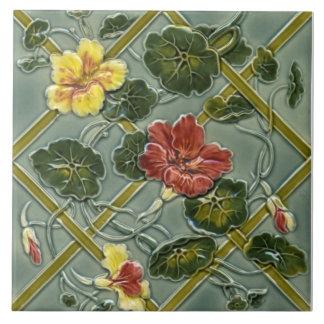 Tuile florale antique Repro de majolique de Carreau