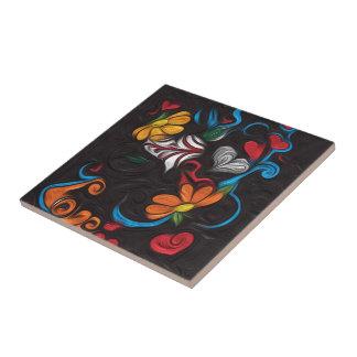 Tuile florale d'illustration carreau