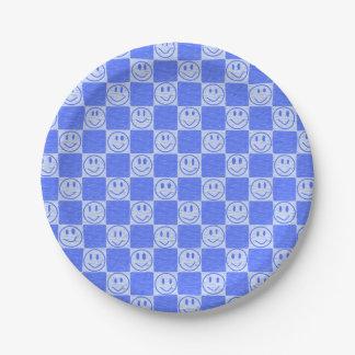 Tuiles bleues avec des sourires assiettes en papier