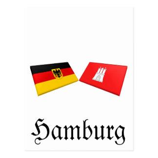 Tuiles de drapeau de Hambourg, Allemagne Carte Postale