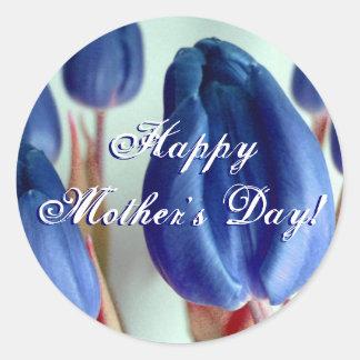 Tulipes bleues heureuses du jour de mère autocollants ronds