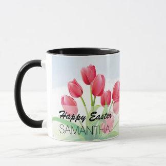 Tulipes de ressort et oeufs de pâques mug