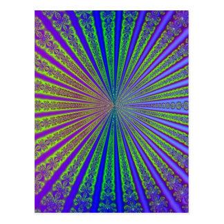Tunnel bleu de fractale d'abrégé sur pourpre de cartes postales