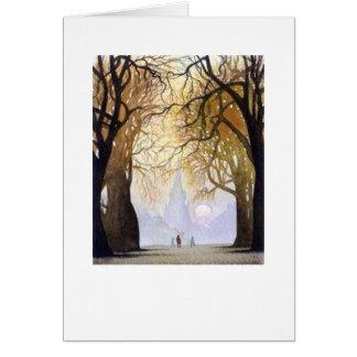 Tunnel d'arbre d'automne carte de vœux