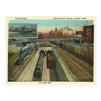 Tunnel vintage de Rivière Détroit Carte Postale