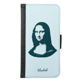 Turkoois Pop-art Mona Lisa Wallet Phone Case Samsung Galaxy S6 Portemonnee Hoesje