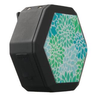 Turkooise Blauwe Abstracte Bloemen Zwarte Bluetooth Speaker