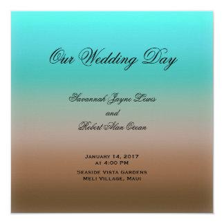Turquoise au programme tropical de mariage de carton d'invitation  13,33 cm