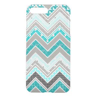 Turquoise de geek, menthe et motif blanc de coque iPhone 7 plus