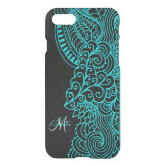 Turquoise de monogramme et caisse noire de coque iPhone 7