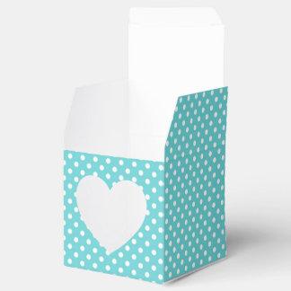 Turquoise et ballotin blanc de point de polka boite de faveur