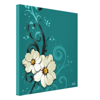 Turquoise florale fleurie du Flourish | Toiles