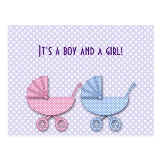 tweeling jongen & meisjesstipwandelwagen - giften briefkaart
