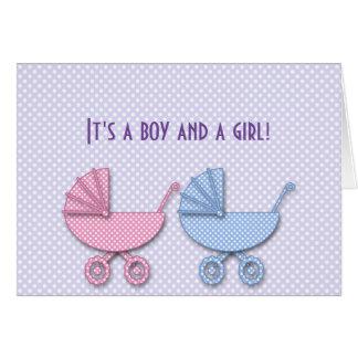 tweeling jongen & meisjesstipwandelwagen - giften kaart