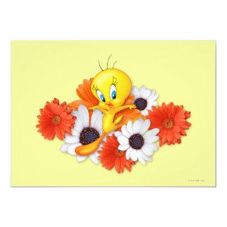 Tweety avec des marguerites carton d'invitation  12,7 cm x 17,78 cm