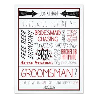 Type, serez-vous mon Groomsman ? Collage Carton D'invitation 10,79 Cm X 13,97 Cm