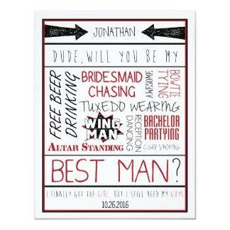Type, serez-vous mon meilleur homme ? Collage Carton D'invitation 10,79 Cm X 13,97 Cm
