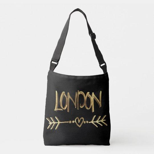 Typographie BRITANNIQUE d'or d'amour de Londres Sac
