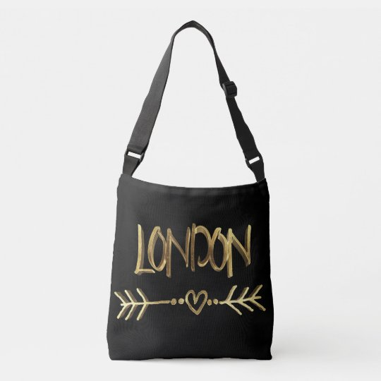 Typographie BRITANNIQUE d'or d'amour de Londres Sac Ajustable