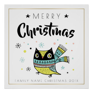Typographie de Joyeux Noël et hibou de Noël