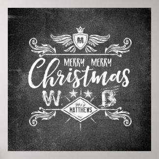 Typographie grunge de Joyeux Noël de tableau rétro