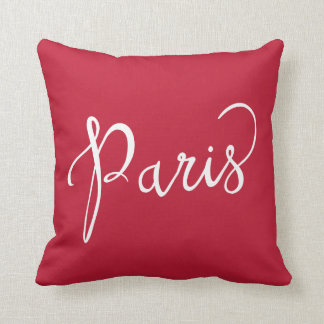 Typographie rouge et blanche chic de Paris France Coussins Carrés