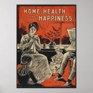 Typographie vintage de bonheur de soins à domicile