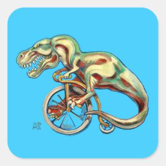 Tyrannosaurus sur une bicyclette de quart de penny stickers carrés