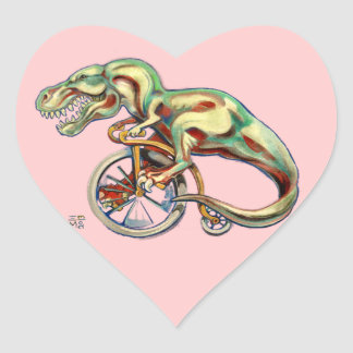 Tyrannosaurus sur une bicyclette de quart de penny autocollants en cœur