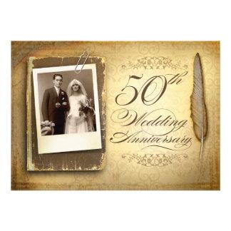 uitnodigingen van de vintage foto de fancy 50 verj