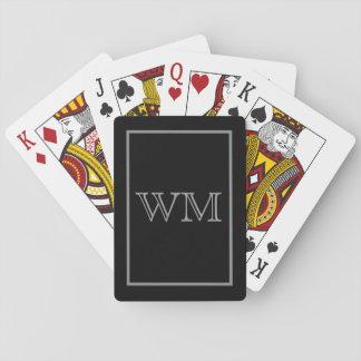 Uitvoerende Zwarte Grijze Initialen Speelkaarten