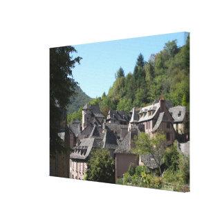 Uitzicht van het middeleeuwse dorp (foto) canvas afdrukken