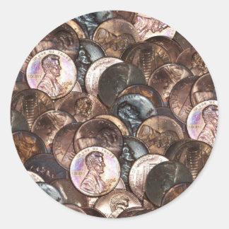 Un arrière - plan de diffusion de penny de cent sticker rond
