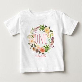 Un bébé an Wreath-5 floral d'anniversaire T-shirt Pour Bébé