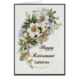 Un bel anneau de carte de retraite de fleurs