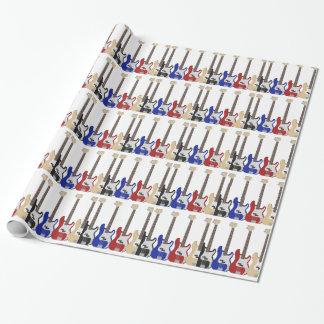 Un bon nombre de guitares, enveloppe de cadeau papier cadeau noël