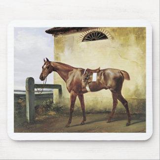 Un cheval de course sellé attaché à une barrière tapis de souris