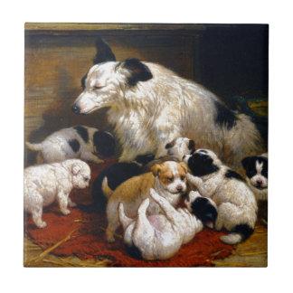 Un chien et ses chiots carreaux en céramique