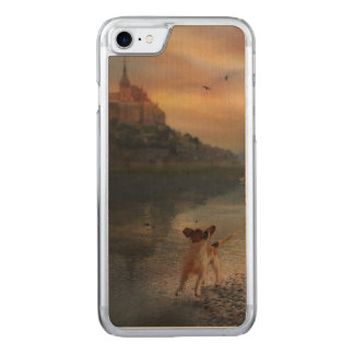 Un chienchien à la plage coque carved iPhone 8/7
