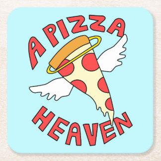 Un ciel de pizza dessous-de-verre carré en papier