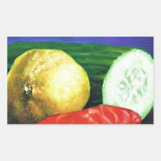 Un citron et un concombre sticker rectangulaire