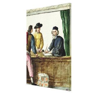 Un commerçant juif avec deux clients toiles