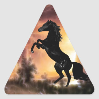 Un élevage frison de cheval d'étalon sticker triangulaire