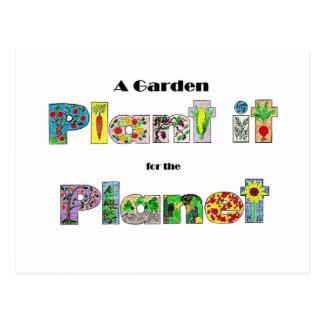 Un jardin, le plantent pour la planète, slogan carte postale
