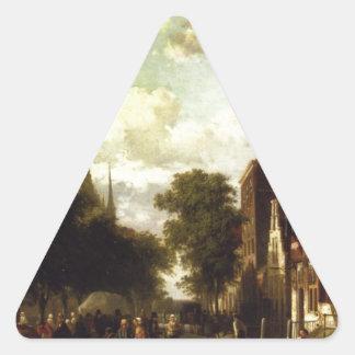 Un marché occupé dans Veere avec le Clocktower du Sticker Triangulaire