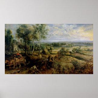 Un paysage d'automne avec une vue de Het Steen