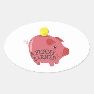 Un penny gagné stickers ovales