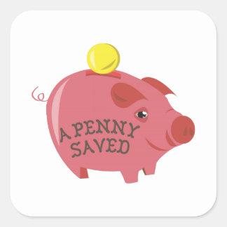 Un penny sauvé autocollant carré